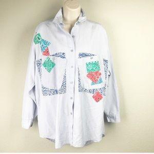 Take Away 100% cotton blue patchwork bandana shirt